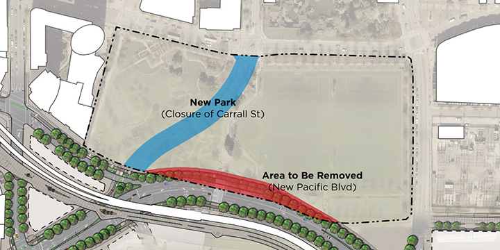 A map showing the proposed changes to Andy Livingstone Park.