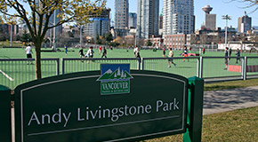 Andy Livingstone Park sign