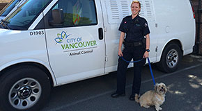A City of Vancouver animal control officer with a dog next to a van
