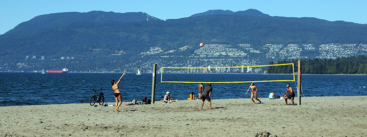 Volleyball players at Kitsilano Beach