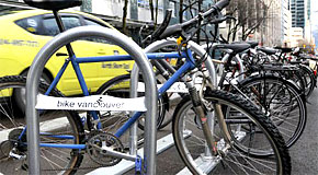 A bike corral made up of a group of U-shap bike racks