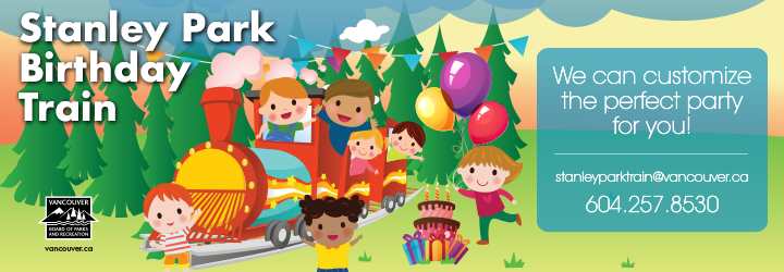 Illustration of kids on the train with balloons