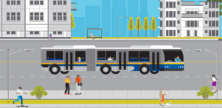 rendering of a bus on the street with people and buildings