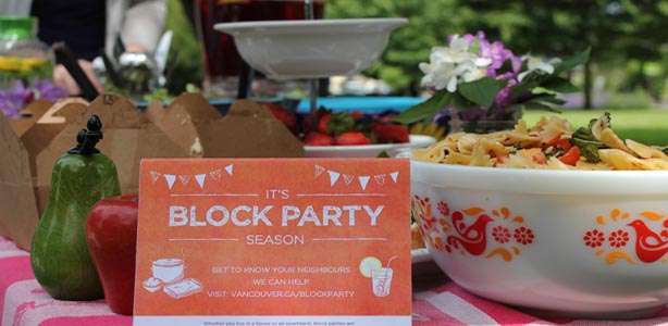 Block party invitation and food on the table