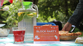 Block party table with food and water