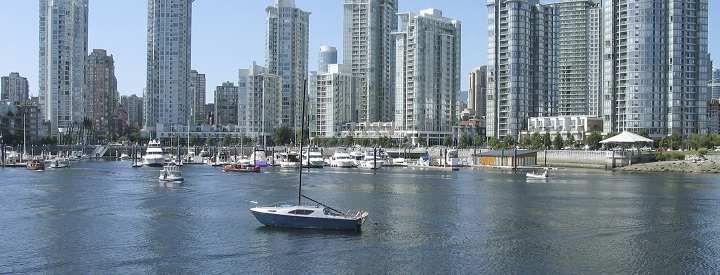 A boat anchored in False Creek