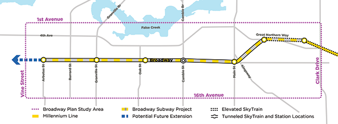 A map of the Broadway Plan area