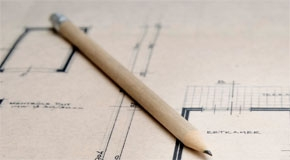 Building plans with pencil