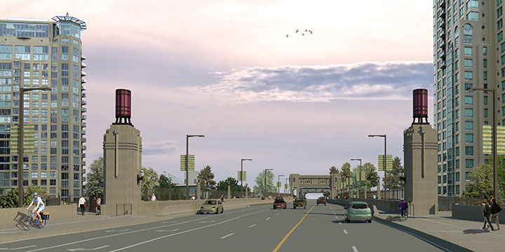 Rendering of Burrard Street bridge view from Pacific Street with cars, cyclists, and pedestrians