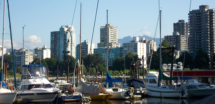 View of boats at Burrard Marina