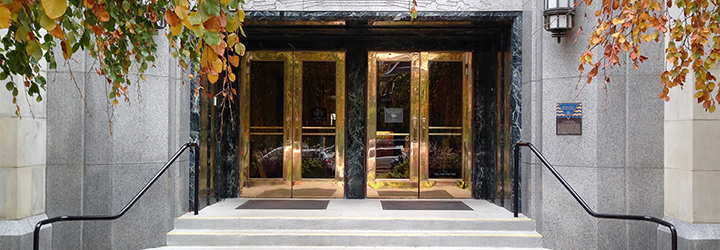 The doors of City Hall in Vancouver