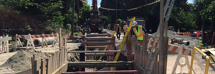 Crew completing sewer upgrades on Southwest Marine Drive