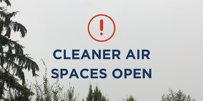Cleaner air spaces open notice with cloudy background