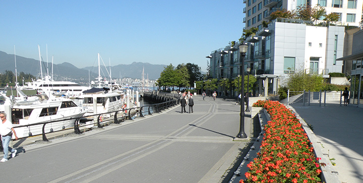 People walking along the Coal Harbour Seawall