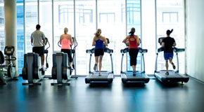 Runners on treadmills at the Creekside Fitness Centre
