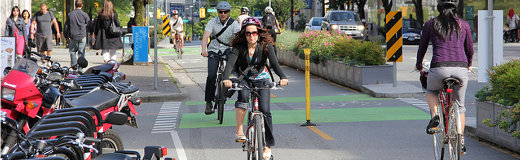 Cycling on the Carrall St. Greenway