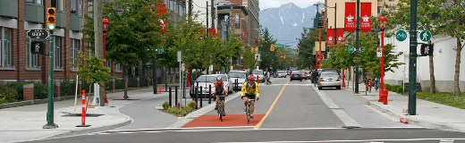 The Carral Street Greenway helps balance the needs of cyclists and drivers.