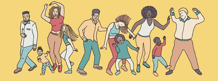 Illustration of people dancing