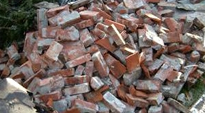 Pile of bricks from a deconstructed building