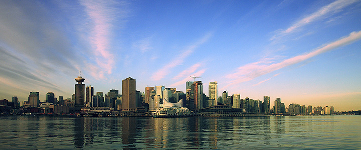 Sunrise over downtown Vancouver