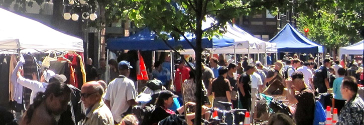 The Downtown Eastside Street Market at Pigeon Park on Carrall Street