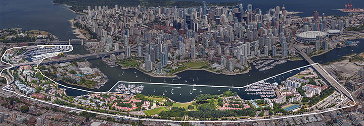 Aerial view of False Creek South and Downtown