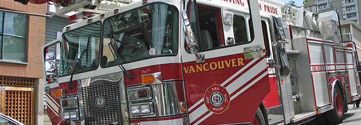 Vancouver city firetruck close up shot