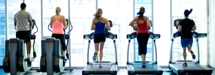 People running on treadmills and using Elliptical machines
