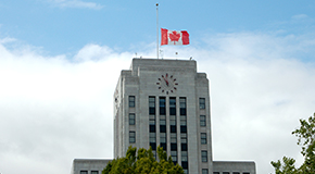 The flag at City Hall is at half mast today.