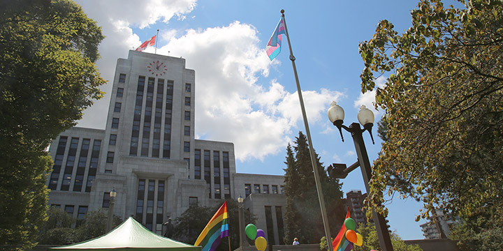 Transgender Pride flag on the Ceremonial Flag Pole at Vancouver City Hall
