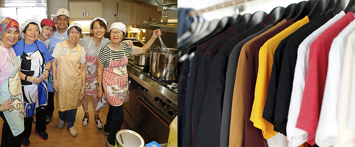 Two images: one of volunteers in a soup kitchen and the other of clothes hanging on a rack