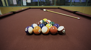 Recreation programs at Gathering Place include a pool room
