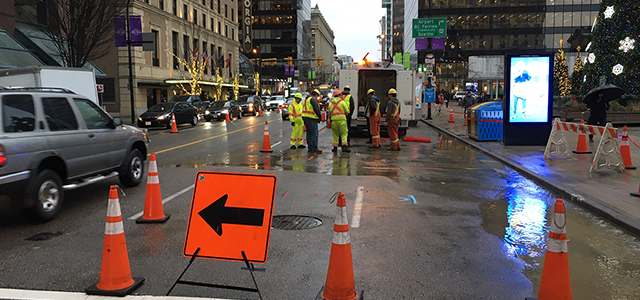 Construction crews working on a water main