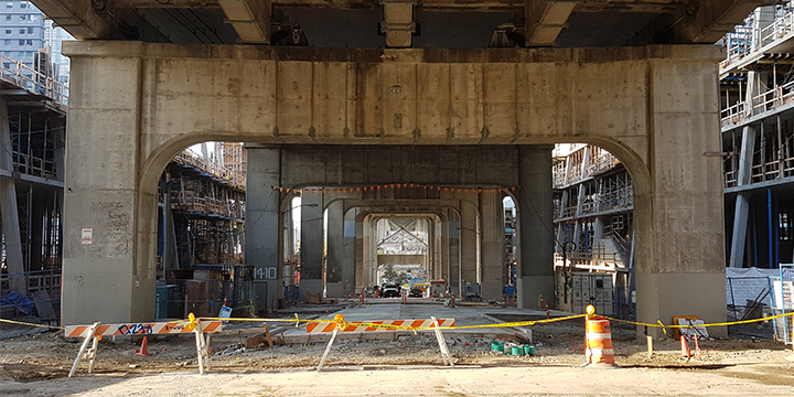 Construction underneath the Granville Bridge