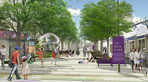 Daytime rendering of Jim Deva Plaza in the Davie Village