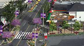 Conceptual illustration for a mid-block pedestrian crossing along Davie Street between Bute and Thurlow