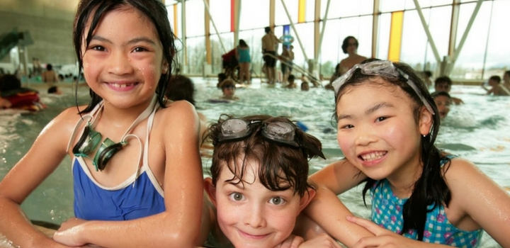 Kids in swimming pool in Vancouver