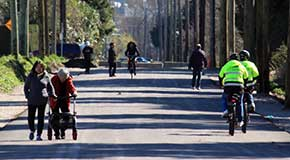 Variety of people using Arbutus Greenway
