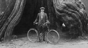 James Bennet Fryer in front of the Stanley Park hollow tree with his bicycle