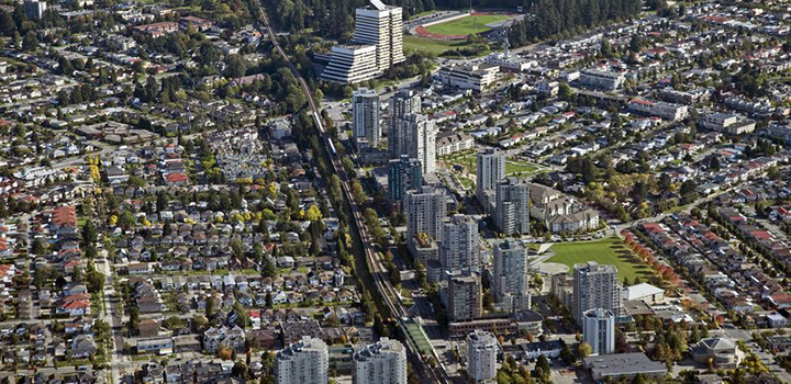 Aerial view of Joyce-Collingwood transition to Burnaby