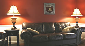 Couch and lamps in living room