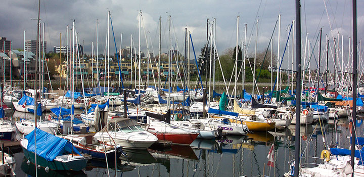 Boats anchored at Burrard Marina