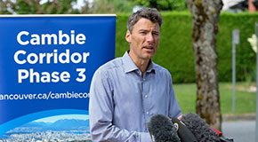 Mayor Gregor Robertson at a press conference about a proposed pilot project to require 20% of homes in new rental buildings in Oakridge Municipal Town Centre to be long-term affordable