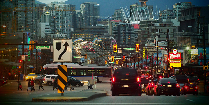 Evening view of traffic on the south side of the Cambie Street Bridge