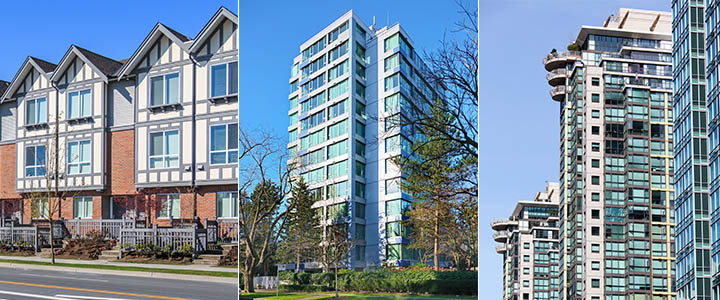 Three images: townhouse, apartment building, and highrise apartment building