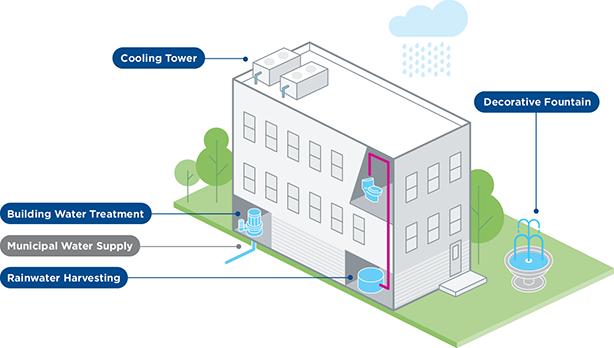 Infographic of where a cooling tower, building water treatment, municipal water supply, rainwater harvesting, and decorative fountain are featured near a building