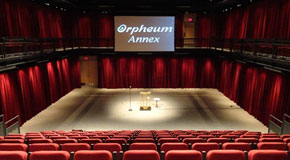 Orpheum Annex set up with projector and podium