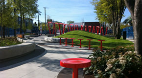 Landscaping and artwork at the new park at 18th and Main