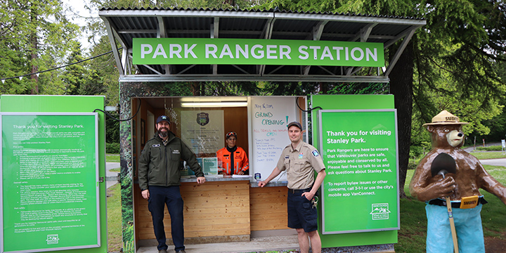 Two Park Rangers standing by the Ranger Station