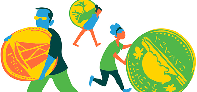 Illustration of people walking with coins